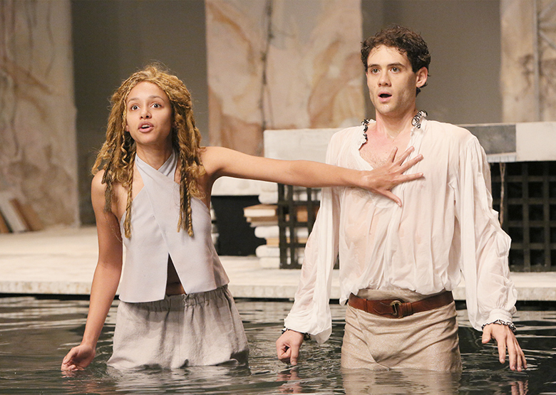 "Why We Love a Rep:  Caroline Strange, Brandon Garegnani in PlayMakers 2013 production of ""The Tempest"" by William Shakespeare. Photo by Michal Daniel."